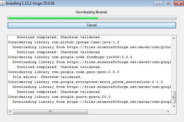 Скачать Майнкрафт Форже 1.13.2 - Версия сборки 25.0.26