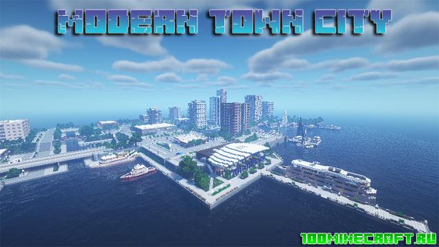 Карта Modern Town City для Minecraft 1.16.5