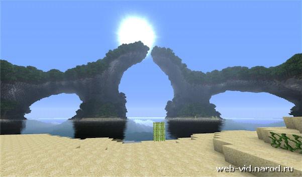 Карта на острове с красивыми ландшафтами и пейзажами для Minecraft 1.5.1 - 1.6 / Скачать бесплатно