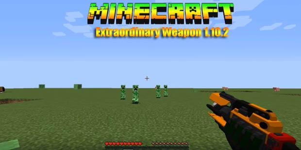 Мод с 3D оружием (Extraordinary Weapons) для Майнкрафт 1.10.2
